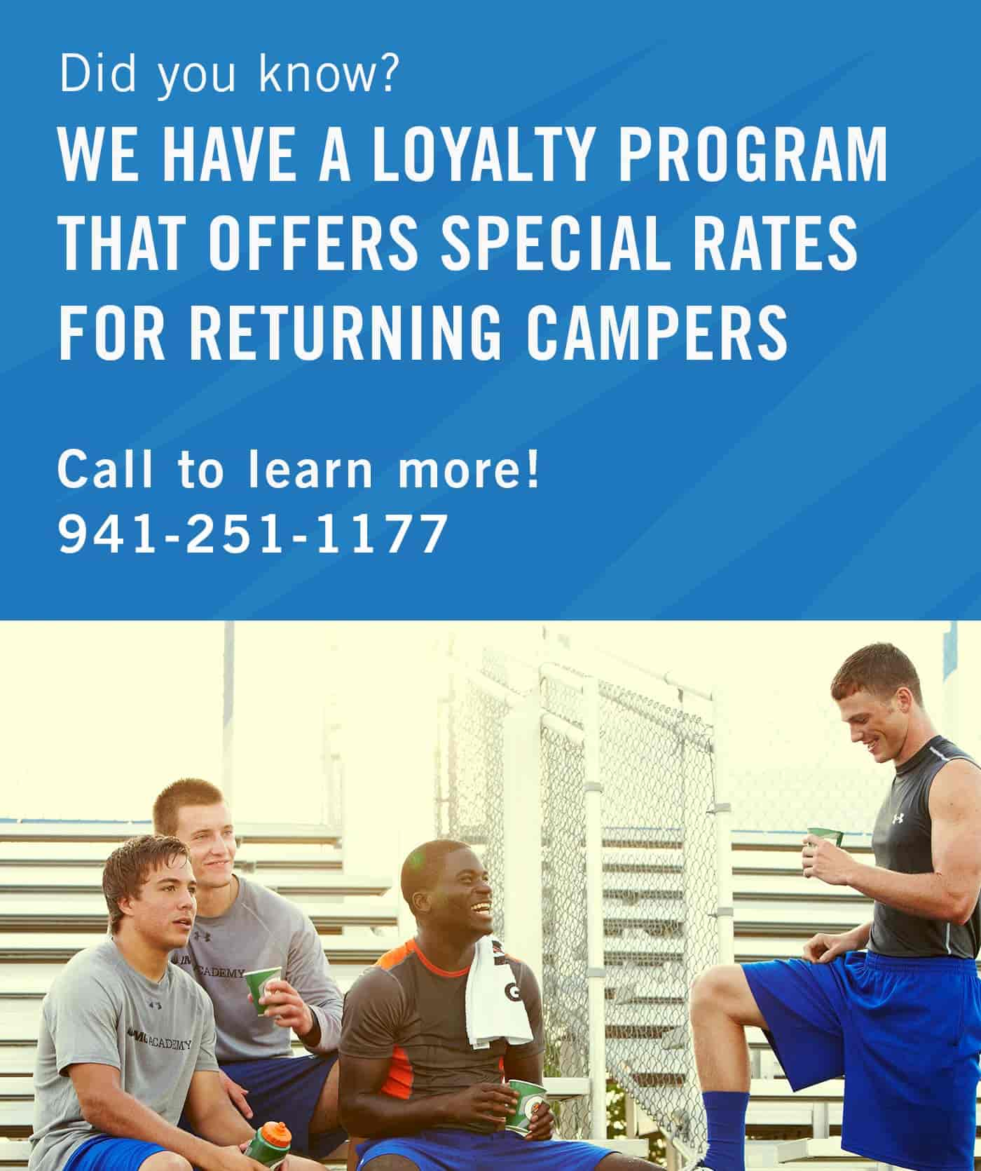 Call 1-941-251-1177 for Loyalty Camper Discount Rate