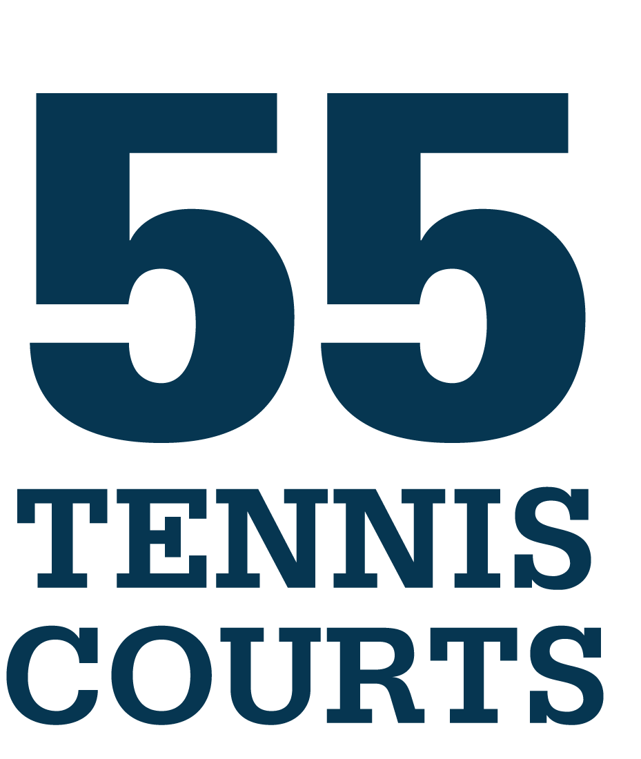 55 tennis courts