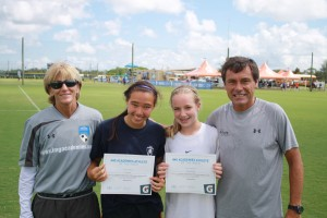 Claire and Geneva with Their IMG Academy Soccer Coaches