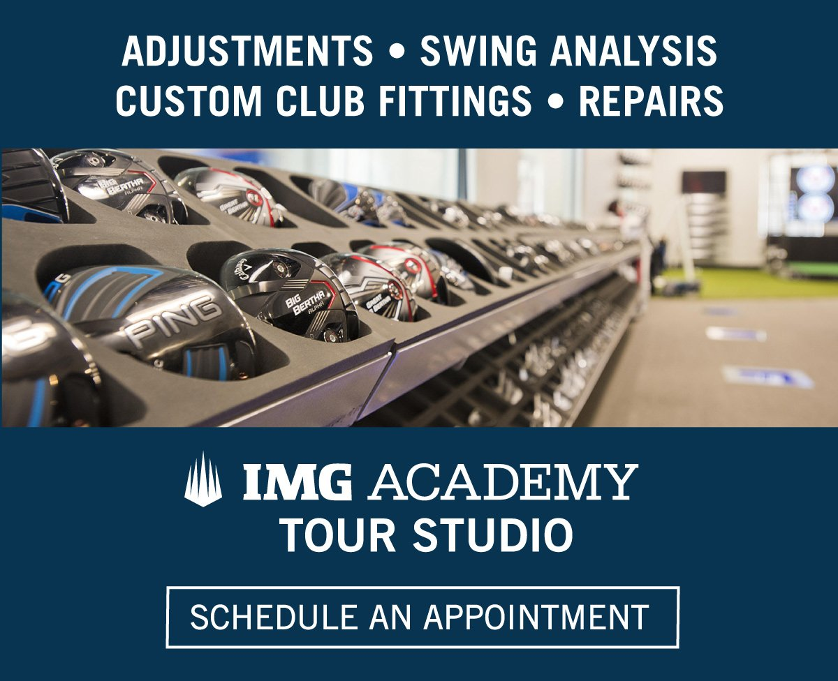 Custom club fittings, swing analysis, adjustments, and repairs. Schedule an appointment at the IMG Academy Tour Studio