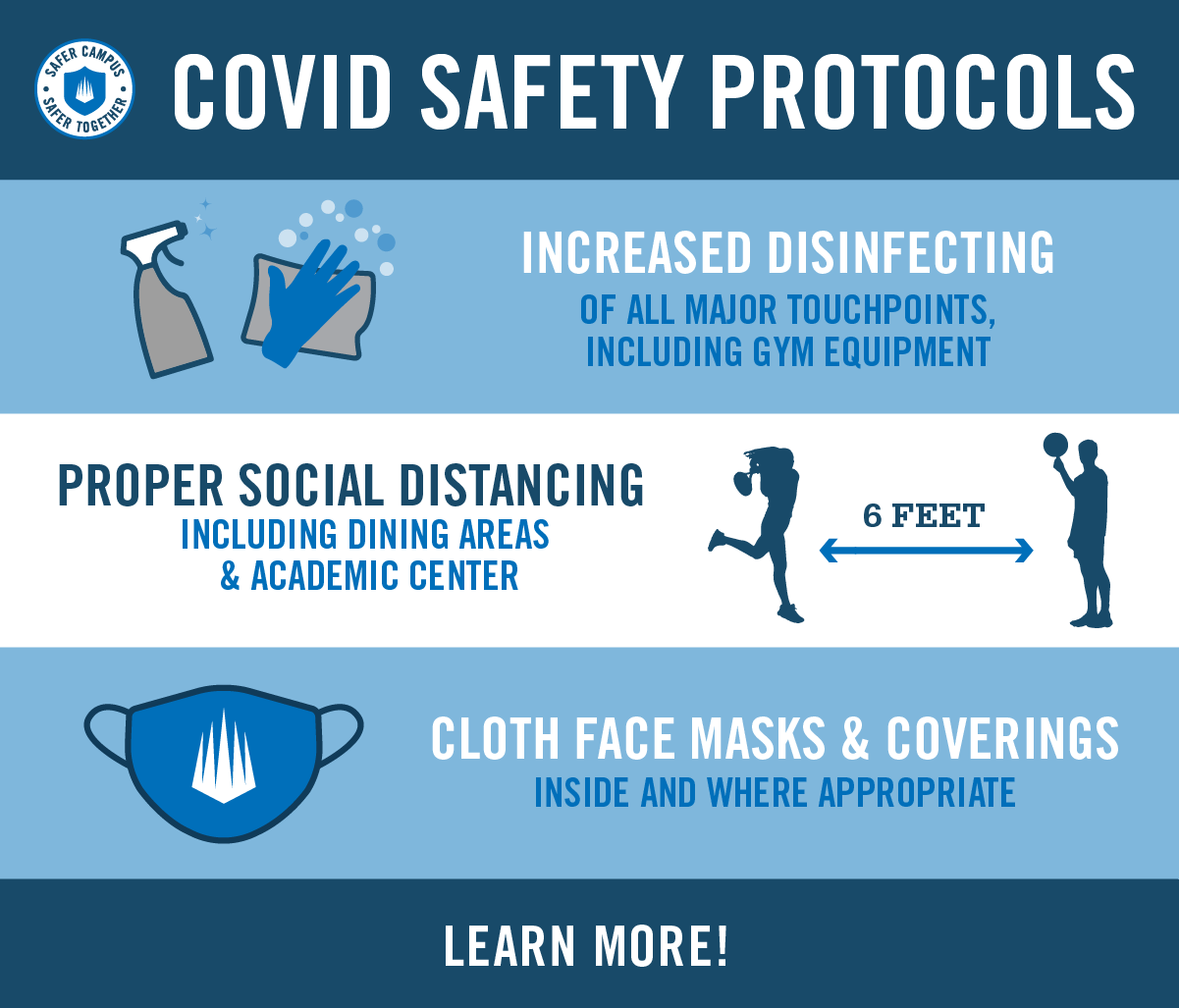 COVID Safety Protocols. Increased disinfecting, proper social distancing, cloth face masks & coverings.