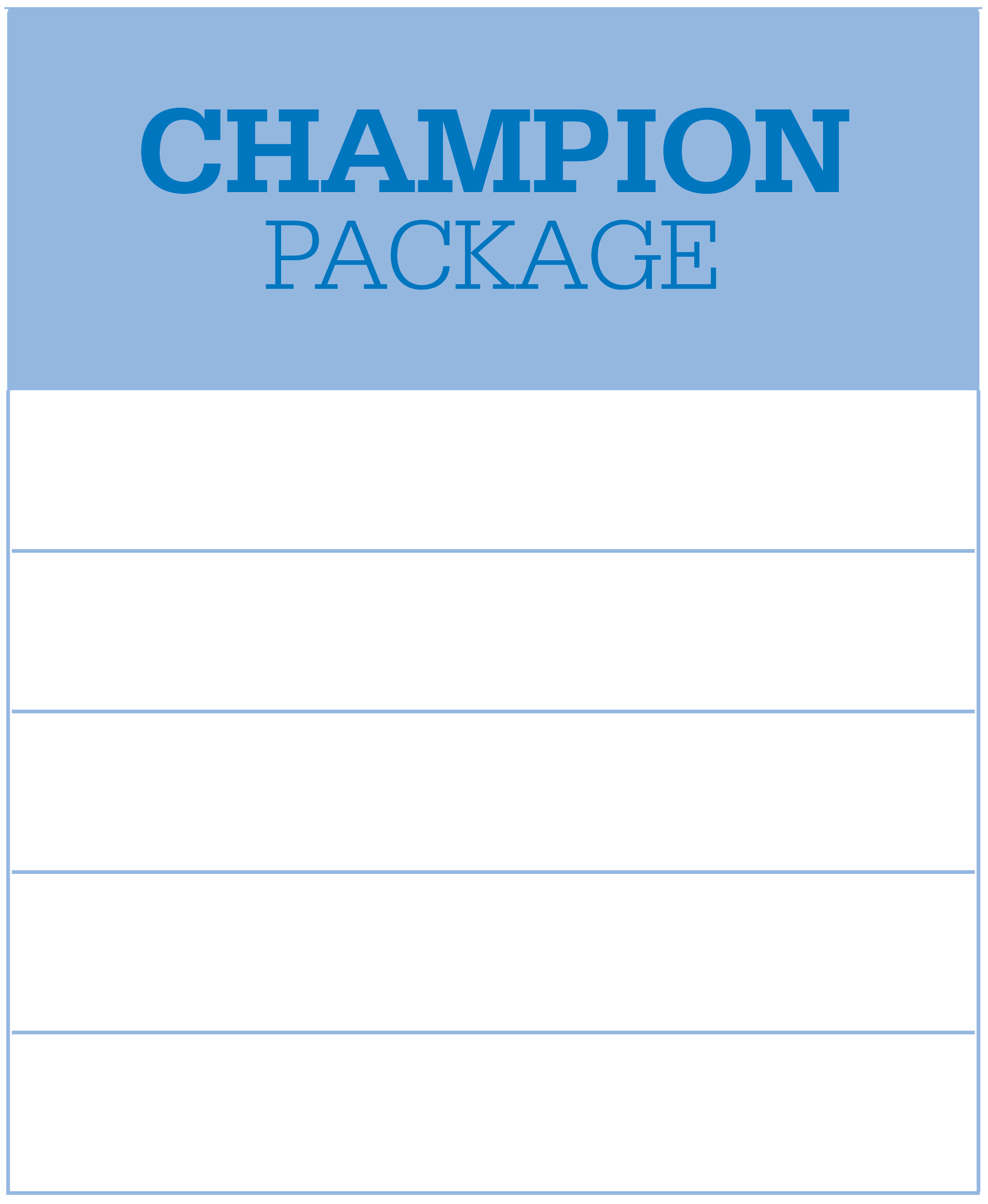 The Champion Package at IMG Academy includes sport facilities use, accommodations, performance sessions, on-campus dining, and transportation services.