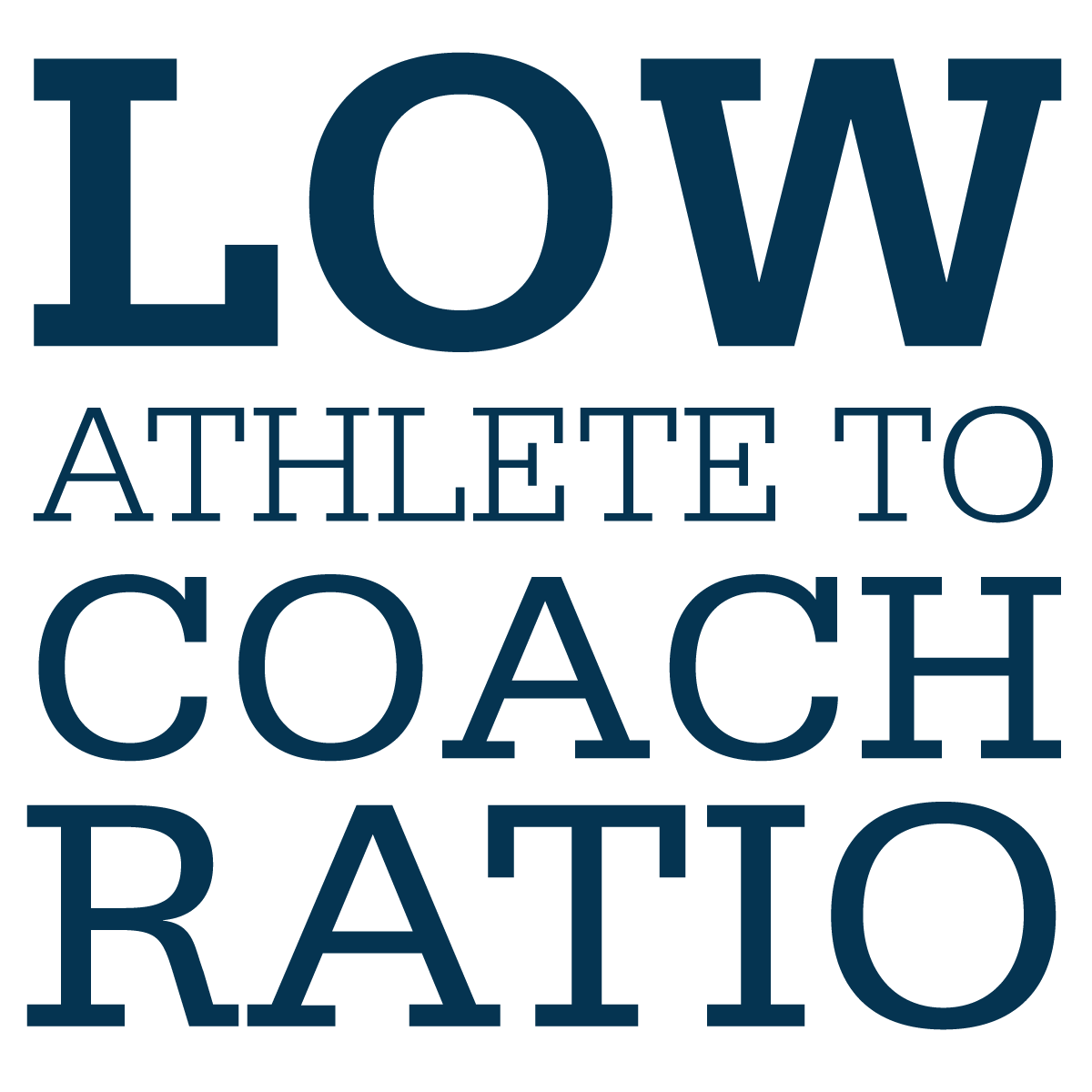 Low athlete to coach ratio